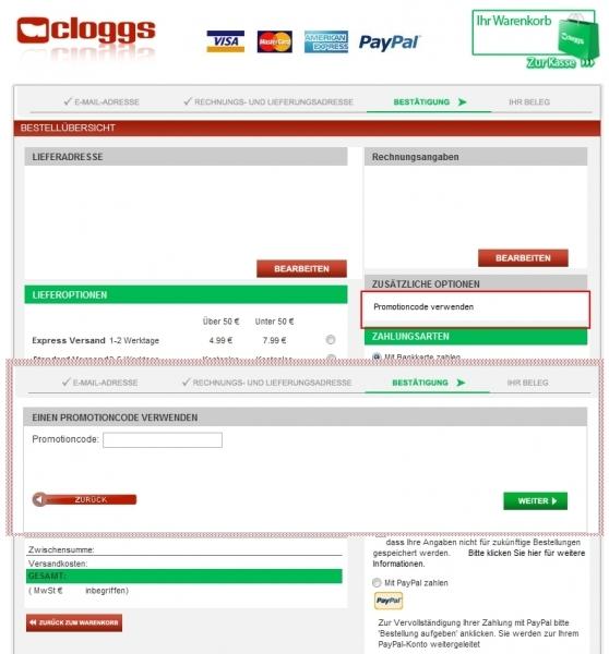 Gutschein-Hilfe Cloggs