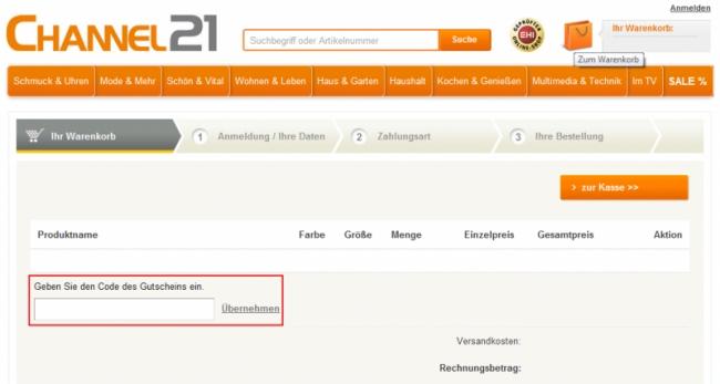 Gutschein-Hilfe Channel21