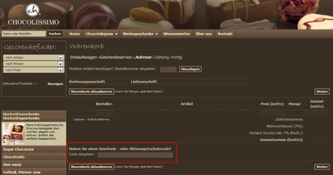 Gutschein-Hilfe chocolissimo.de
