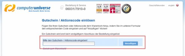 Gutschein-Hilfe computeruniverse.net