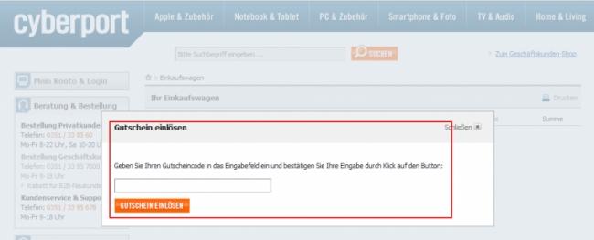 Gutschein-Hilfe Cyberport