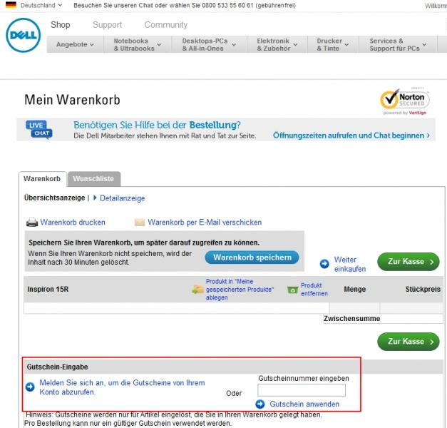 Gutschein Hilfe Dell