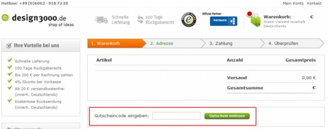 Gutschein-Hilfe design3000.de