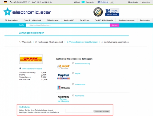 Gutschein-Hilfe Electronic Star