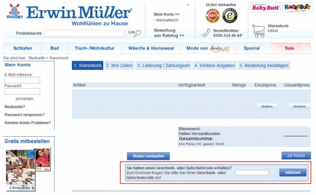 Gutschein Hilfe Erwin Müller