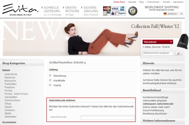Gutschein-Hilfe Evita Shoes