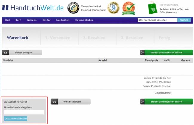 Gutschein-Hilfe HandtuchWelt.de