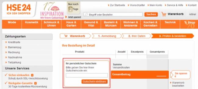 Gutschein-Hilfe HSE24