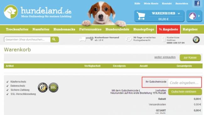 Gutschein-Hilfe Hundeland.de