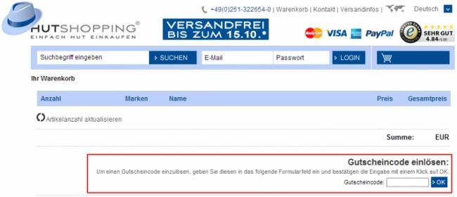 Gutschein-Hilfe hutshopping.de