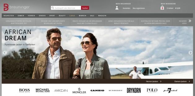 die Startseite des Breuninger Online-Shops
