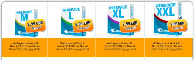 Webspace ab 2,99 EUR monatlich bei Contabo