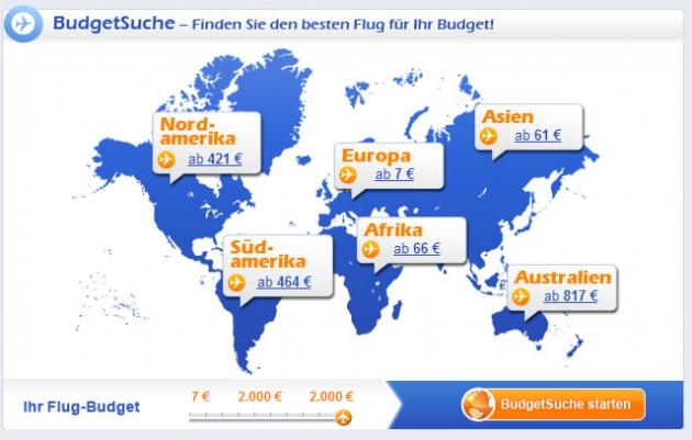 die BudgetSuche von Fluege.de