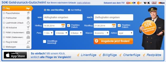 die Suchmaske von Fluege.de findet für Dich den günstigsten Preis