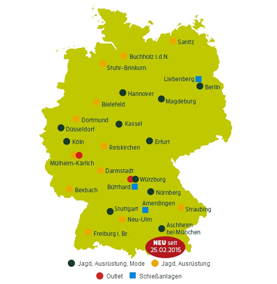 alle Frankonia Standorte im Überblick