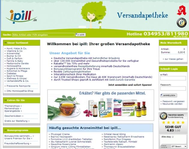 Die Startseite von ipill.de