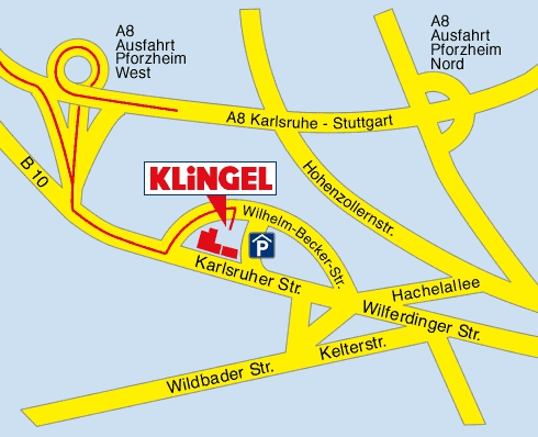 Anfahrtsskizze zum Klingel Ladengeschäft in Pforzheim