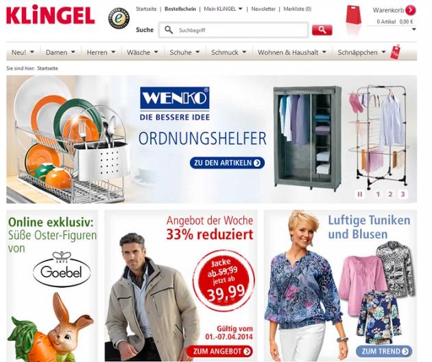 die Startseite des Klingel Online-Shops