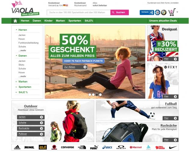 die Homepage von Vaola im September 2014