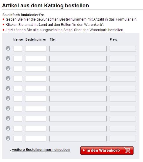 Katalogbestellformular bei Weltbild.de