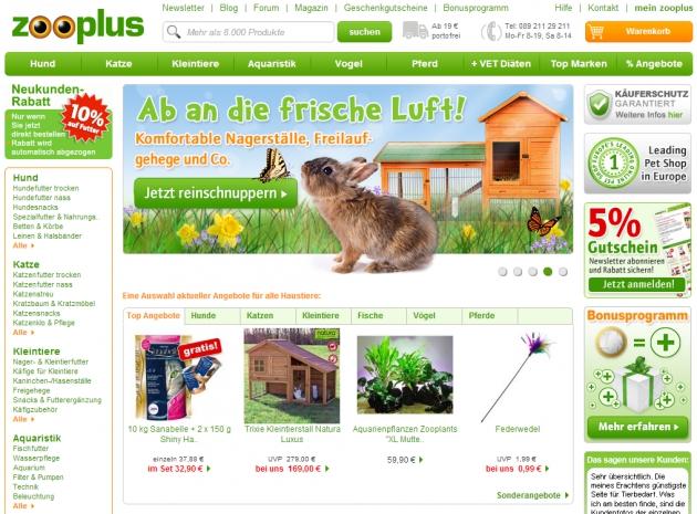 die Startseite von Zooplus